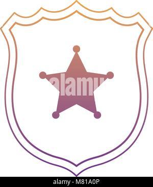 Sheriff icône de bouclier sur fond blanc, design coloré. vector illustration Banque D'Images