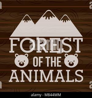 Forêt de la montagnes animaux portent sur fond de bois vector illustration