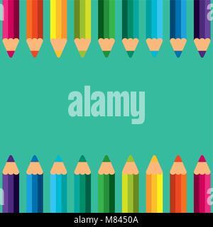 Crayons de couleurs retour à l'école border vector illustration Banque D'Images