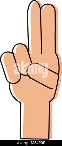 Main avec deux doigts vers le haut sur fond blanc, vector illustration Banque D'Images