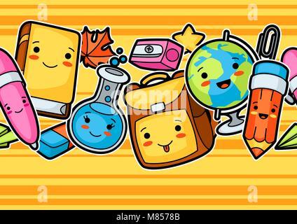 Kawaii cute avec motif transparente de l'école matériel d'enseignement Banque D'Images