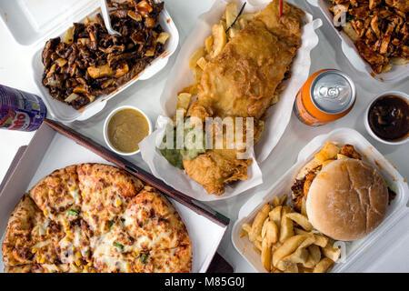 Fish and Chips, Junk Food d'en haut Banque D'Images