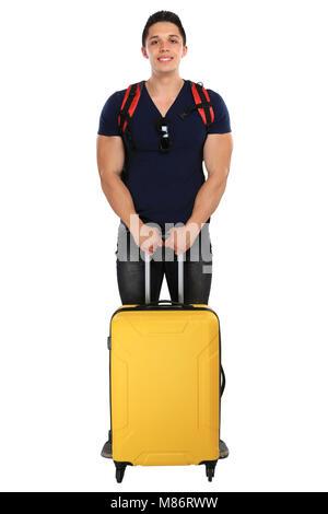 Locations de vacances jeune homme avec une assurance voyage voyage isolé sur fond blanc Banque D'Images