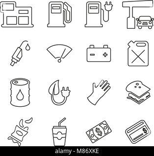 Station d'essence ou de gaz icônes pompe fine ligne Vector Illustration Set Banque D'Images