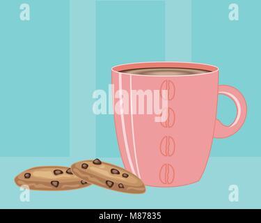 Un vecteur illustration en eps 10 format d'un mug rose pleine de café chaud et deux cookies aux pépites de chocolat Banque D'Images