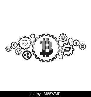 Crypto technologie dessin de concept cryptocurrency ligne de l'icône dans un style moderne. L'argent, la monnaie Banque D'Images