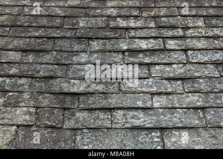 Ardoise anciennes tuiles sur un toit d'un bâtiment de ferme Banque D'Images