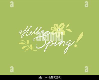 Bonjour printemps carte de vœux. Arrière-plan de printemps avec lettrage manuscrit, fleur, élément de design floral Banque D'Images