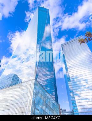 Une vue sur le World Trade Center à Manhattan. Un beau travail d'architecture et d'un émouvant mémorial. Banque D'Images