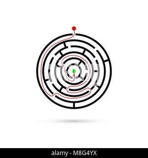 Labyrinthe circulaire avec moyen de centre. Solution d'affaires de la confusion et de concept. Modèle plat. Vector Banque D'Images