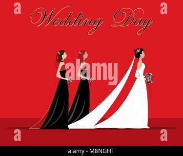 Un vecteur illustration au format eps d'une mariée et demoiselles vêtu d'un thème noir et rouge avec des fleurs Banque D'Images