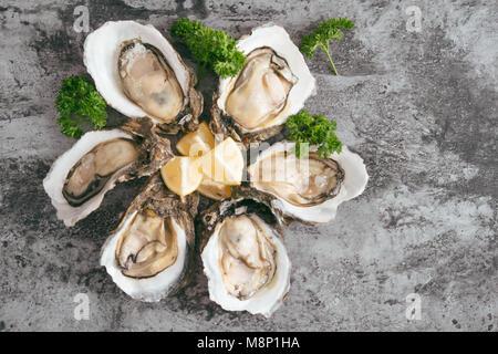 Ouvrir les huîtres, citron sur la table en pierre grise. Demi-douzaine. With copy space Banque D'Images