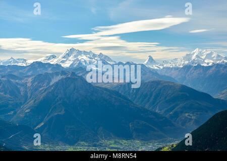 Vue sur massif du Mont Rose et le Mont Cervin, Suisse Banque D'Images