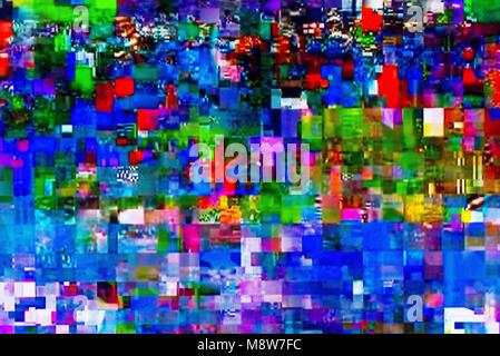 TV numérique avec écran de télévision sur glitch égaré des places, des effets statiques et le gel des problèmes lors de l'échec de diffusion