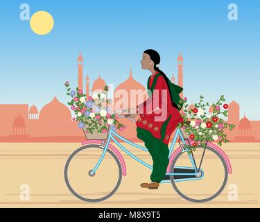 Un vecteur illustration en eps10 format d'un Punjabi woman riding a bicycle avec des paniers de fleurs colorées Banque D'Images