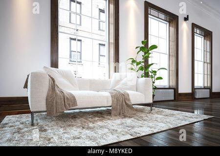 canap blanc et cr me cr me tapis pays salon avec grand miroir au dessus de chemin e en marbre. Black Bedroom Furniture Sets. Home Design Ideas