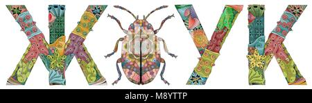 Mot beetle en russe et la silhouette d'un insecte style zentangle aux lignes épurées pour un livre à colorier pour Banque D'Images