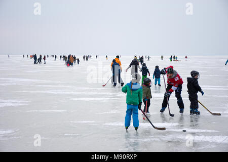 Le père et les enfants jouer au hockey sur glace parmi d'autres personnes le patin à glace sur le lac gelé de Neusiedl en temps d'hiver nuageux terne. Banque D'Images