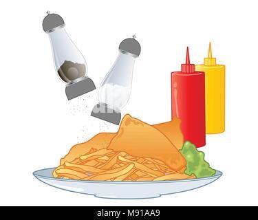 Un vecteur illustration en eps 10 format d'un plat de poisson et frites avec du sel et du poivre et condiments Ketchup et Moutarde sur fond blanc Banque D'Images
