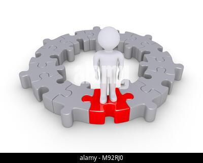Pièces de puzzle connectés forment un cercle et une personne est debout sur l'un de couleur différente Banque D'Images