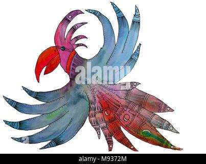 Illustration de style aquarelle oiseau magique Banque D'Images