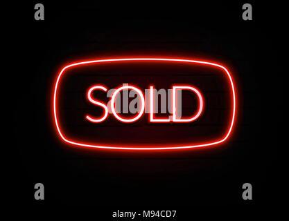 Vendu en néon rouge - Glowing Neon Sign sur mur brickwall - rendu 3D illustration libres de droits .