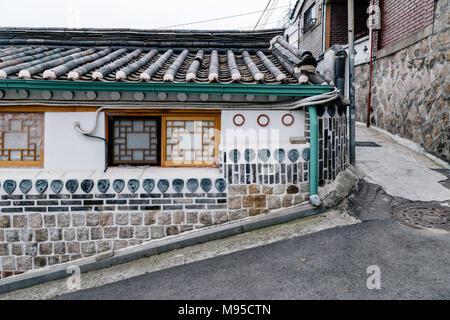 Le village de Bukchon Hanok, architecture traditionnelle à Séoul, Corée Banque D'Images