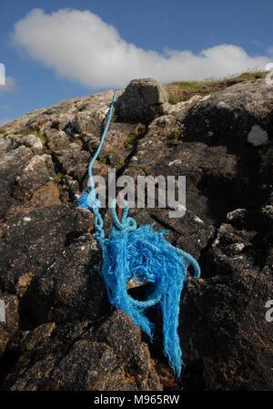 Amarre de bleu, (peintre), Aughrusbeg la tête, le Connemara Banque D'Images