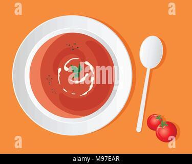 Un vecteur illustration en eps 10 format d'un bol de soupe aux tomates délicieux avec de la crème swirl et garnir de coriandre sur un fond orange Banque D'Images