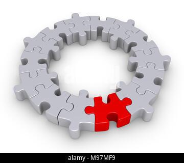 Pièces de puzzle connectés forment un cercle et l'un est de couleur différente Banque D'Images
