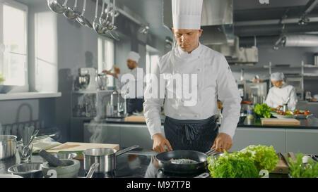Chef du restaurant célèbre poisson frites sur une poêle chaude. Il travaille dans une cuisine moderne. Banque D'Images