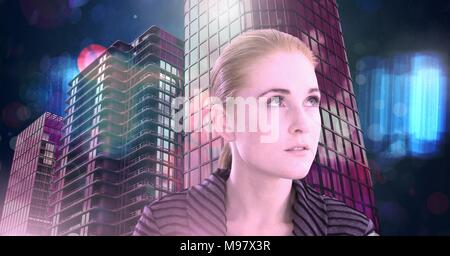 Femme cheveux rouge fluo en ville futuriste Banque D'Images