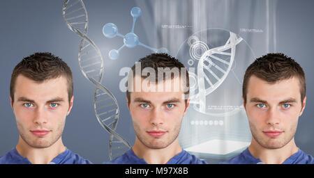 Les hommes avec de l'ADN génétique Clone Banque D'Images