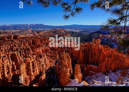 Le Parc National de Bryce Canyon dans l'Utah,hiver,Amérique du Nord Banque D'Images