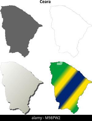 Carte Muette Bresil.Carte De La Region Nord Est Du Bresil Isole Sur Fond Blanc Vecteurs