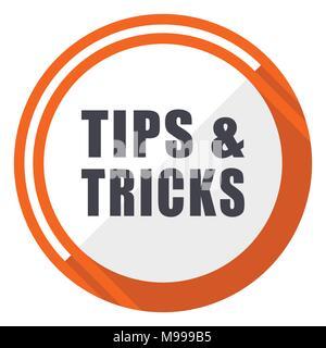 Astuces Conseils télévision vecteur de conception web icon. Orange ronde bouton internet isolé sur fond blanc. Banque D'Images