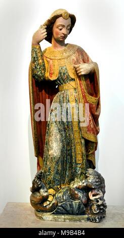 Saint Michel 15ème siècle, Portugais, Portugal (de l'église de Saint Michel à Montemor-o-Velho, ) au moyen âge il y avait un culte fervent et prolongée consacrée à l'Archange, connue sous le nom de victoriosus. Banque D'Images