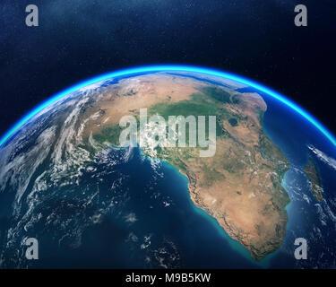 Terre vue de l'espace avec l'accent sur l'Afrique. Rendu 3D détaillées contre the Starry night sky (éléments de ce meublé de rendu par la NASA) Banque D'Images
