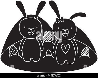 Couple silhouette animal lapin de Pâques avec des oeufs