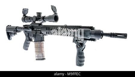 Ar 15 M4a1 Carbine Tactiques Avec Vue Sniper Lampe Afg Grip Et