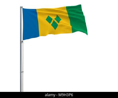 Isoler le pavillon de Saint Vincent et les Grenadines sur un mât voltigeant dans le vent sur un fond blanc, 3D Rendering Banque D'Images