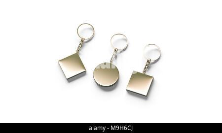 Golden key Chaîne vide côté maquette set view, rendu 3d. Clear gold square trousseau circulaire rhombus conception immersive isolés. Plaine vide modèle porte-clés Porte-souvenir