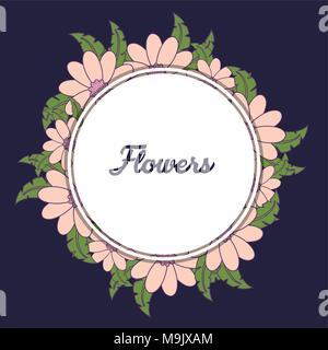Châssis circulaire décoratif avec de belles fleurs et feuilles autour sur fond bleu, un design coloré vector illustration Banque D'Images