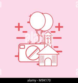L'église et de l'appareil photo avec plus de ballons colorés sur fond rose, desing ligne vector illustration Banque D'Images