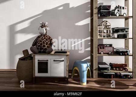 Petite chambre à coucher bien éclairées par la lumière du soleil chaud et ombres sur un mur de jouets empilés sur des étagères ouvertes avec un tabouret et grande girafe en peluche sur un cabinet. R 3d Banque D'Images