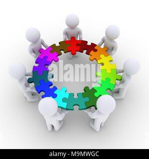Les gens 3d sont maintenant connectés des pièces de puzzle qui forment un cercle Banque D'Images