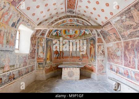 Fresques de la chapelle de San Sebastiano, Val Maira, celle di Macra, Piémont, Italie Banque D'Images