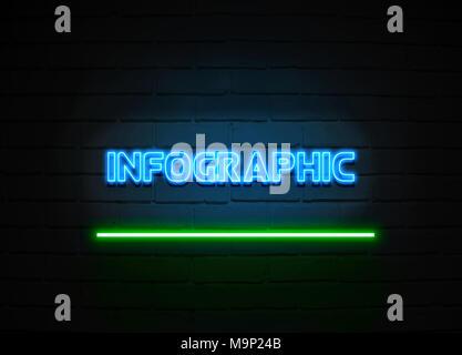 L'infographie en néon - Glowing Neon Sign sur mur brickwall - rendu 3D illustration libres de droits. Banque D'Images