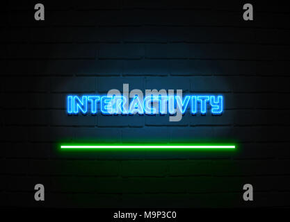 L'interactivité en néon - Glowing Neon Sign sur mur brickwall - rendu 3D illustration libres de droits. Banque D'Images