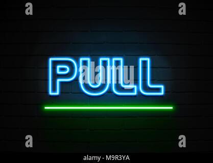Tirez en néon - Glowing Neon Sign sur mur brickwall - rendu 3D illustration libres de droits. Banque D'Images